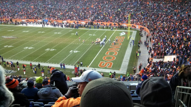 Denver lining up for an extra point after scoring a touchdown - this is the goalpost the record-setting field goal *just* cleared.